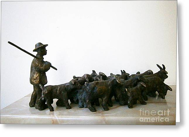 Realism Sculptures Greeting Cards - Shepherd with a flock of goats Greeting Card by Nikola Litchkov