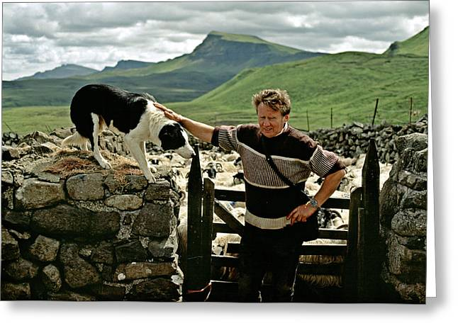 Working Dog Greeting Cards - Shepherd with dog on Isle of Skye Scotland Greeting Card by David Davies