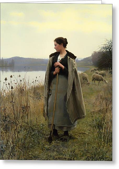 Pondering Paintings Greeting Cards - Shepherdess of Rolleboise  Greeting Card by Daniel King