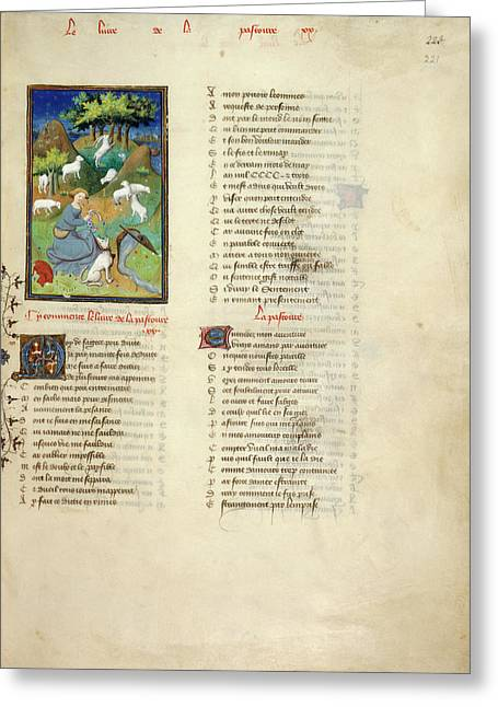Shepherdess Watches Her Flock Greeting Card by British Library