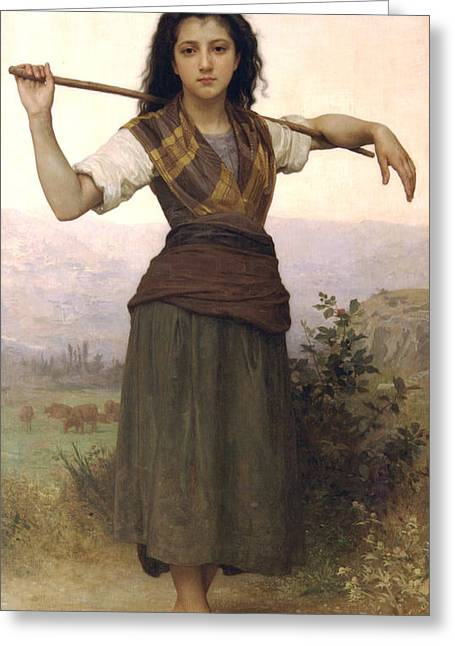 Young Lady Greeting Cards - Shepherdess Greeting Card by William Bouguereau