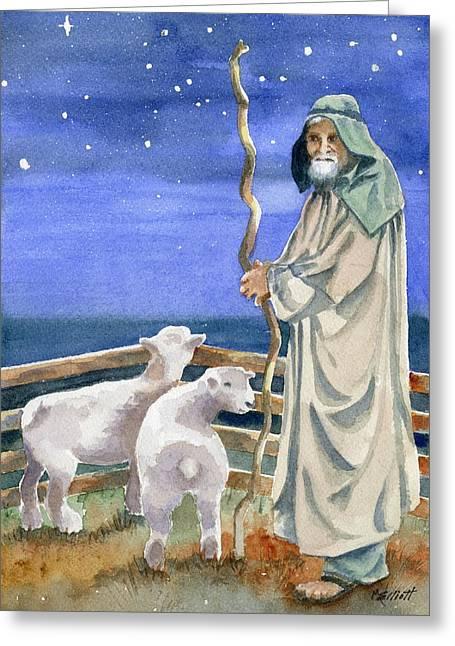 Shepherds Greeting Cards - Shepherds Watched Their Flocks by Night Greeting Card by Marsha Elliott