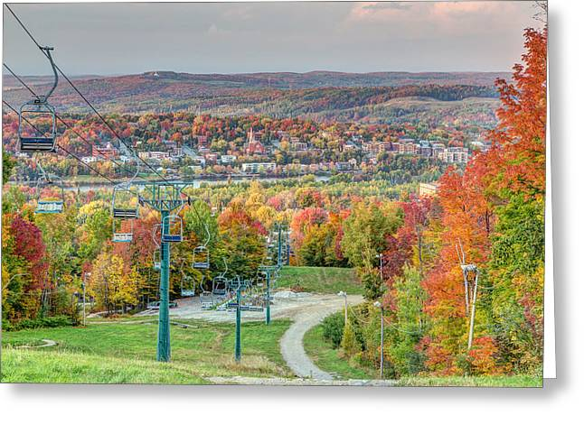 Bellevue Greeting Cards - Sherbrooke from Mt Bellevue in Autumn Greeting Card by Pierre Leclerc Photography
