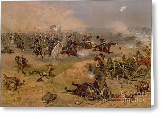 3rd Army Greeting Cards - Sheridans Final Charge at Winchester Greeting Card by American School