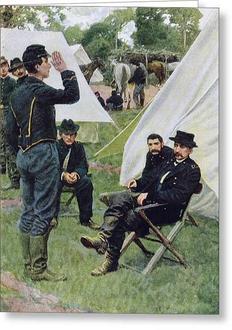 Army Photographs Greeting Cards - Sheridans First Interview With Rowand, Illustration From Rowand By William Gilmore Beymer, Pub Greeting Card by Howard Pyle