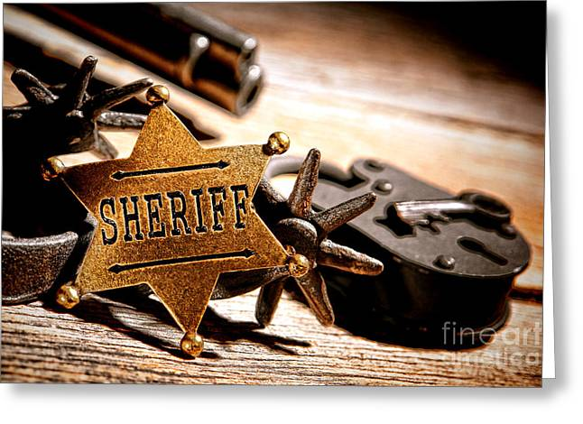 Sheriff Tools Greeting Card by Olivier Le Queinec