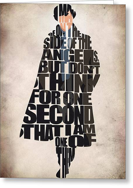 Typography Print Greeting Cards - Sherlock - Benedict Cumberbatch Greeting Card by Ayse Deniz