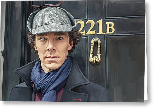 Benedict Greeting Cards - Sherlock Holmes Artwork Greeting Card by Sheraz A