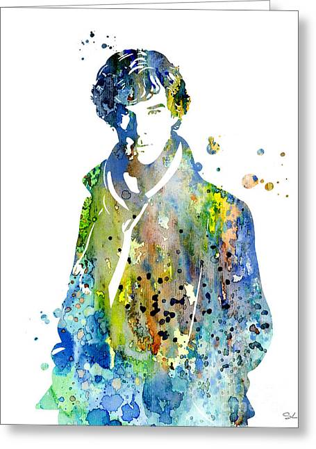 Watercolour Paintings Greeting Cards - Sherlock Holmes Greeting Card by Luke and Slavi