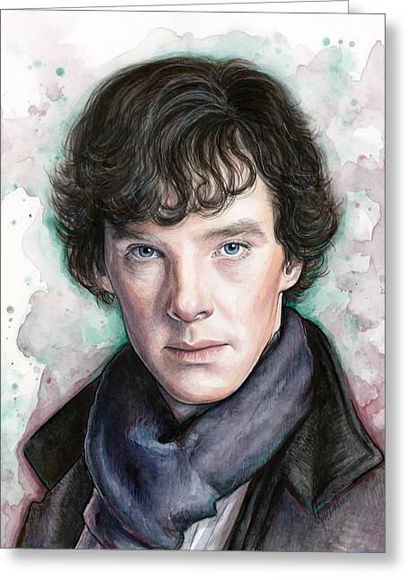 Shows Mixed Media Greeting Cards - Sherlock Holmes Portrait Benedict Cumberbatch Greeting Card by Olga Shvartsur
