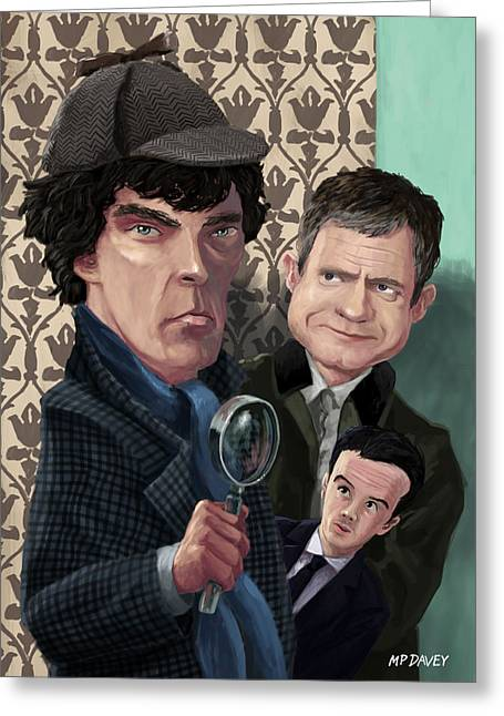 Police Cartoon Greeting Cards - Sherlock Homes Watson and Moriarty at 221B Greeting Card by Martin Davey