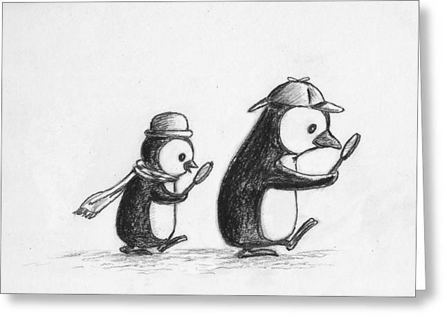 Solving Greeting Cards - Sherlock Penguin Detective Agency Greeting Card by Devin Hermanson
