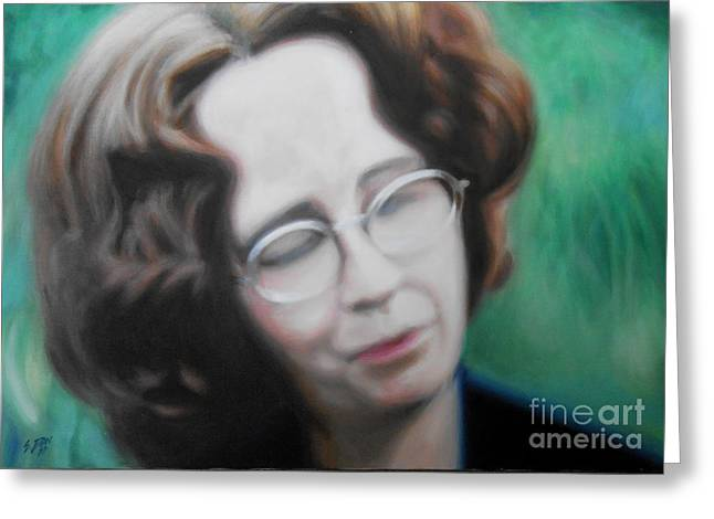 Photo-realism Greeting Cards - Sherrie in Garden Greeting Card by E Dan Barker