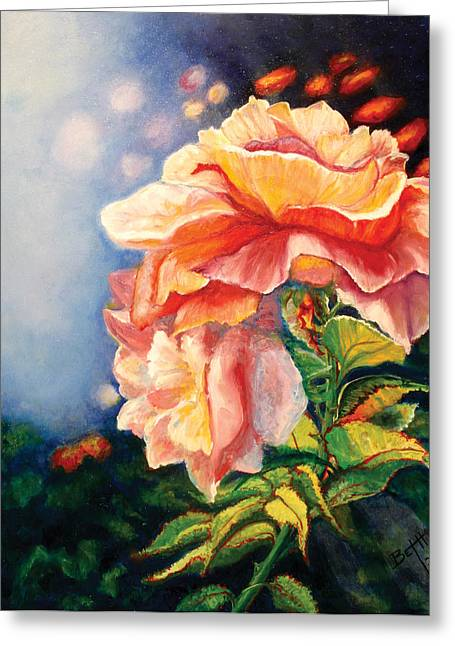 Dream Scape Greeting Cards - Sherrys Roses Greeting Card by Beth Gramith