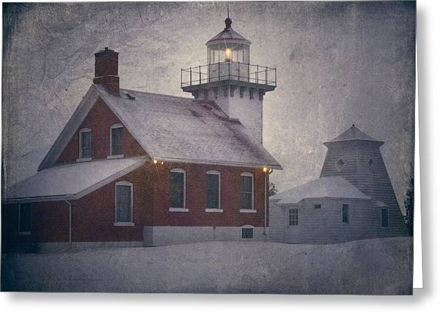 Historic Architecture Greeting Cards - Sherwood Point Light Greeting Card by Joan Carroll