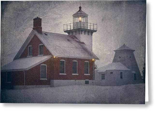 Sherwood Point Light Greeting Card by Joan Carroll