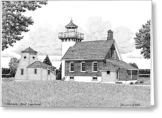 Ink Drawing Greeting Cards - Sherwood Point Lighthouse Greeting Card by David T Wilkinson