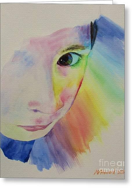 She's A Rainbow Greeting Card by Martin Howard