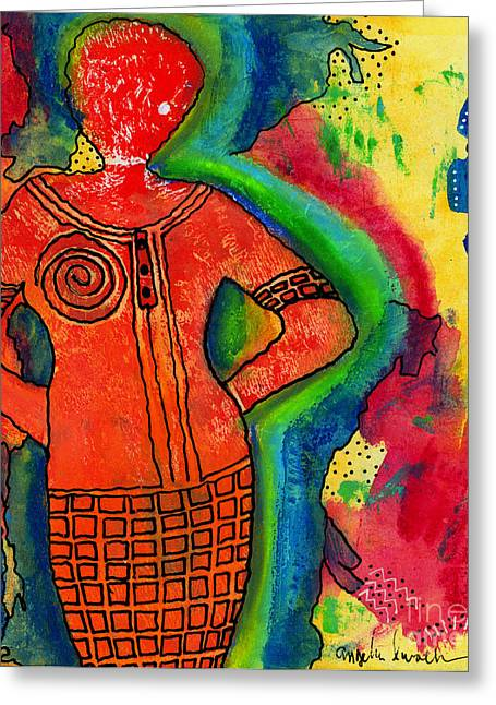 Printmaking Greeting Cards - Shes a SUPER Woman Greeting Card by Angela L Walker