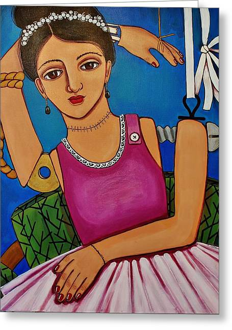 Tiara Paintings Greeting Cards - Shes Come Undone Greeting Card by Stephanie Cohen