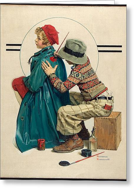 Norman Drawings Greeting Cards - Shes My Baby by Norman Rockwell Greeting Card by Nomad Art And  Design
