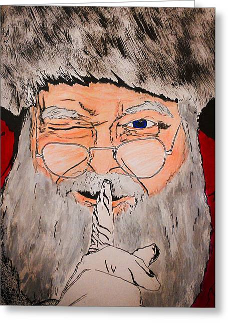 Shh Greeting Cards - Shh Santa is Here Greeting Card by Zech Browning