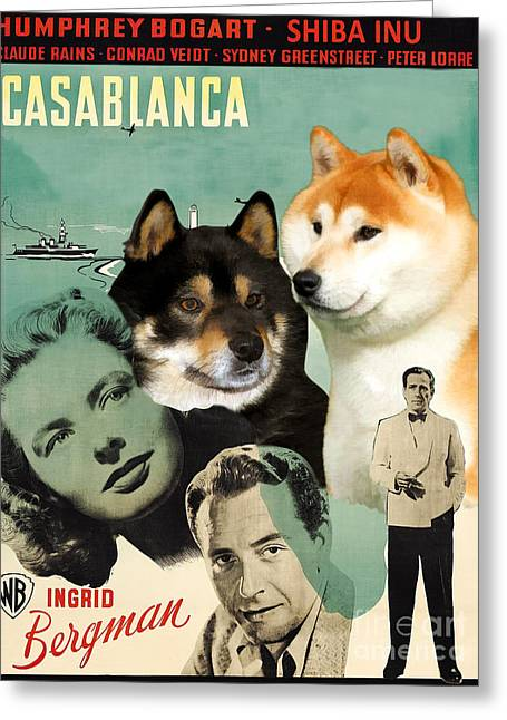 Inu Greeting Cards - Shiba Inu Art Canvas Print - Casablanca Movie Poster Greeting Card by Sandra Sij