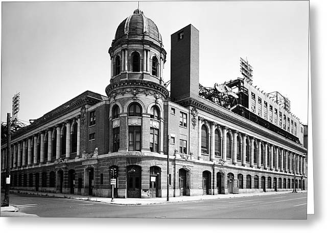 Shibe Greeting Cards - Shibe Park in black and white Greeting Card by Bill Cannon
