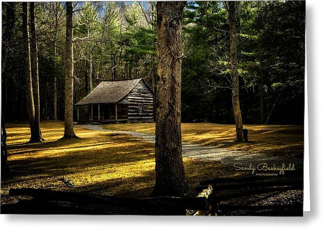 Cantilever Barn Greeting Cards - Shields House Greeting Card by Sandy Baskeyfield