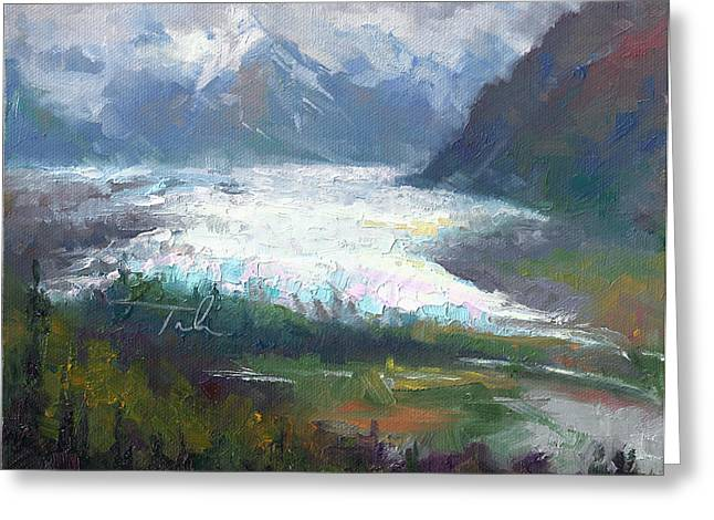 Shifting Light - Matanuska Glacier Greeting Card by Talya Johnson