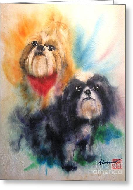 Shih Tsu Siblings Greeting Card by Alan Goldbarg