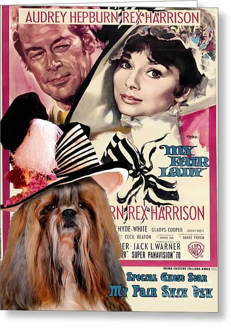 Dog Prints Greeting Cards - Shih Tzu Art - My Fair Lady Movie Poster Greeting Card by Sandra Sij
