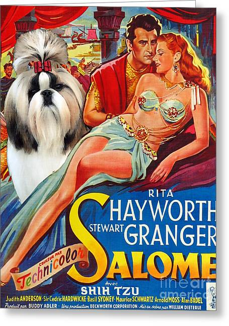 Salome Greeting Cards - Shih Tzu Art - Salome Movie Poster Greeting Card by Sandra Sij