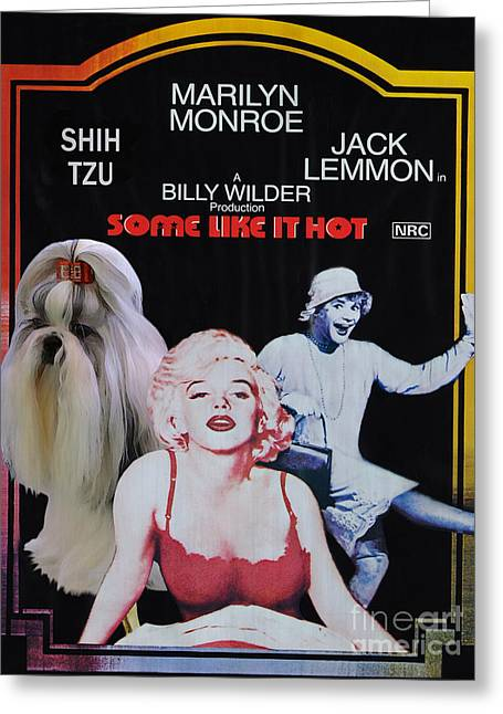 Toy Dogs Paintings Greeting Cards - Shih Tzu Art Canvas Print - Some Like It Hot Movie Poster Greeting Card by Sandra Sij