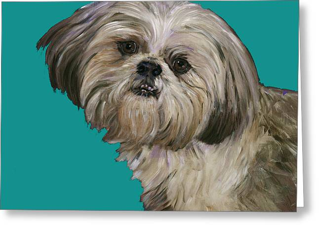 Shih-tzu Greeting Cards - Shih Tzu On Turquoise Greeting Card by Dale Moses