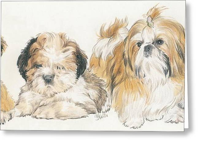 Toy Dogs Mixed Media Greeting Cards - Shih Tzu Puppies Greeting Card by Barbara Keith