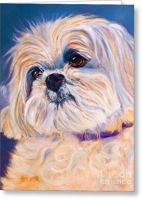 Toy Dog Drawings Greeting Cards - Shih Tzu Rescue Greeting Card by Susan A Becker