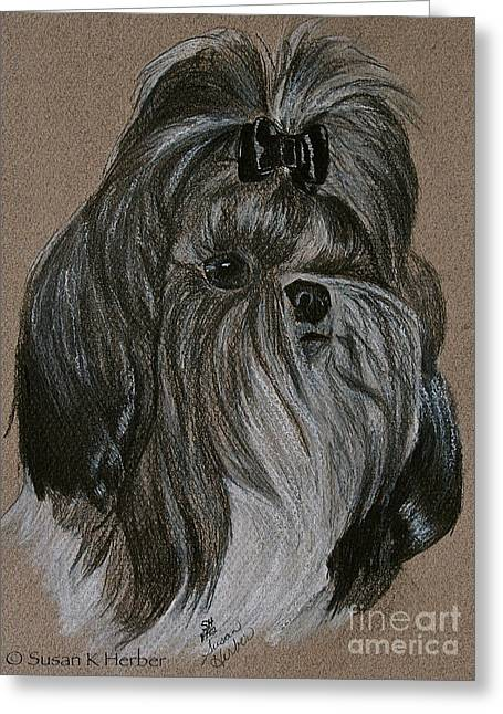 Toy Dog Drawings Greeting Cards - Shih Tzu Greeting Card by Susan Herber