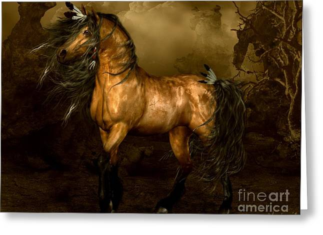 Golds Digital Art Greeting Cards - Shikoba Choctaw Horse Greeting Card by Shanina Conway