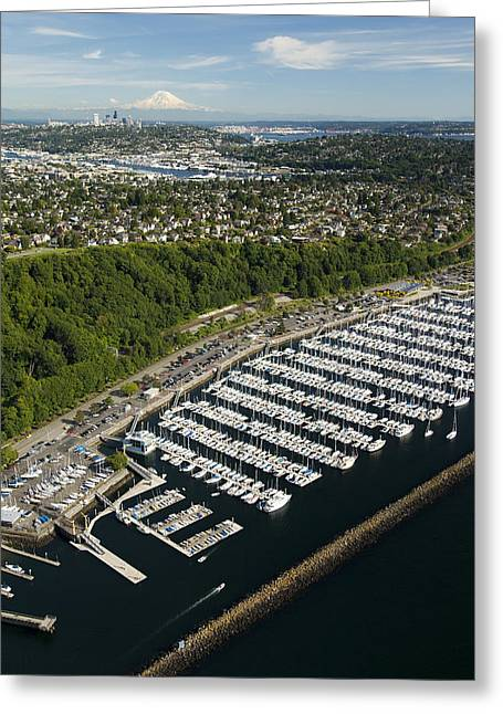 Shilshole Bay Marina On Puget Sound Greeting Card by Andrew Buchanan/SLP