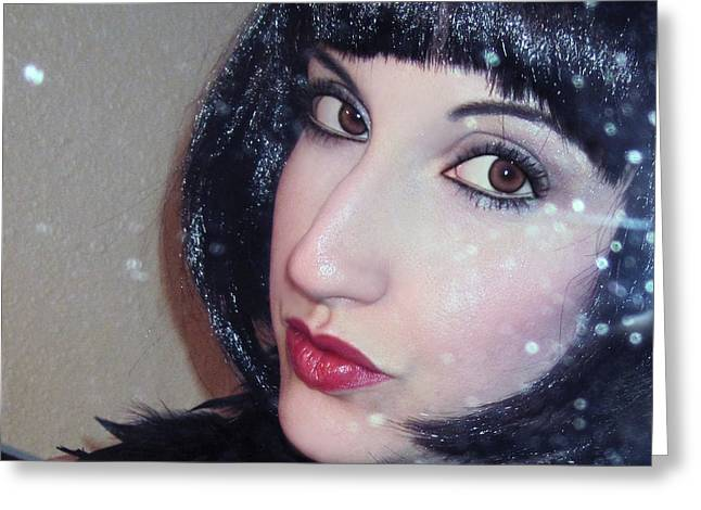 Self-portrait Photographs Greeting Cards - Shimmer - Self Portrait  Greeting Card by Jaeda DeWalt