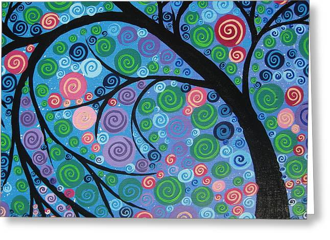 Living With Joy Greeting Cards - Shimmer Tree Greeting Card by Cathy Jacobs