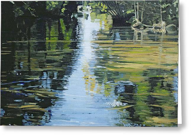 Sunlight Greeting Cards - Shimmering River, 2003 Oil On Canvas Greeting Card by Alan Byrne