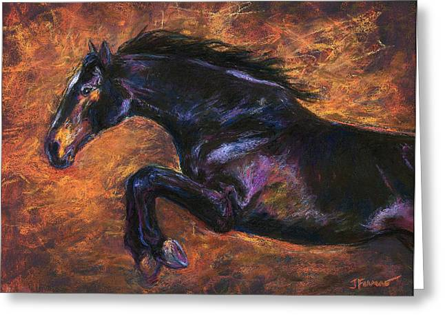 Equestrian Prints Pastels Greeting Cards - Shimmering Strength Jumping Horse Greeting Card by Janet Ferraro