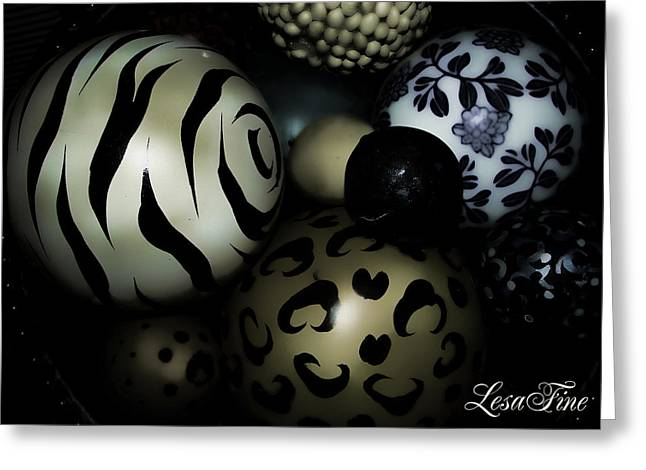 Shimmery Spheres Greeting Card by Lesa Fine