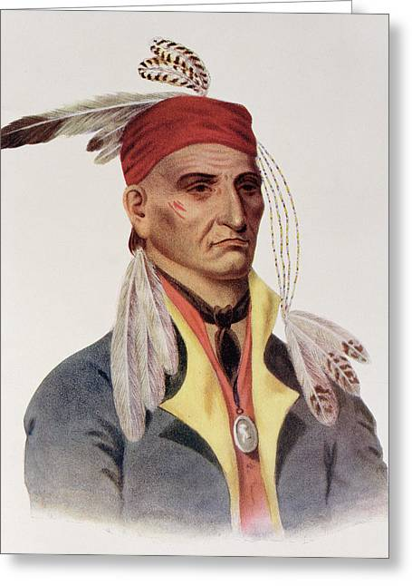 Bandana Greeting Cards - Shin-ga-ba Wossin Or Image Stone,  A Chippeway Chief, 1826, Illustration From The Indian Tribes Greeting Card by James Otto Lewis