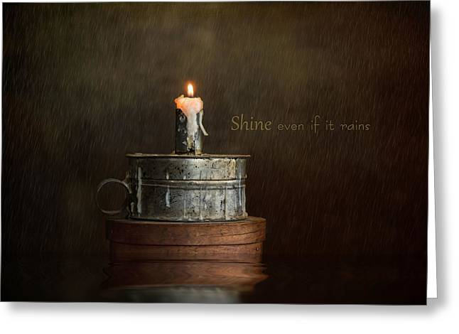 Candle Lit Greeting Cards - Shine Greeting Card by Robin-lee Vieira