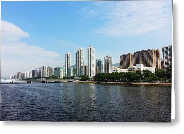 Sha Greeting Cards - Shing Mun river in Kowloon - Hong Kong Greeting Card by Prowpatareeya Sithisarn