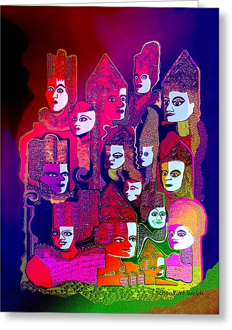 Many Faces Greeting Cards - 1186 - Shining 2 Greeting Card by Irmgard Schoendorf Welch