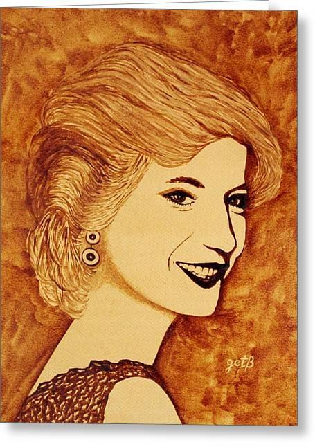 Princess Diana Greeting Cards - Shining Diana Princess coffee painting Greeting Card by Georgeta  Blanaru